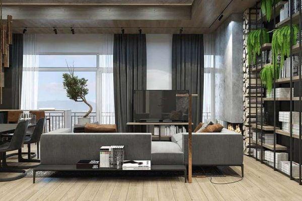 Thiết kế nội thất phòng khách chung cư Yên Sở - C. Hương