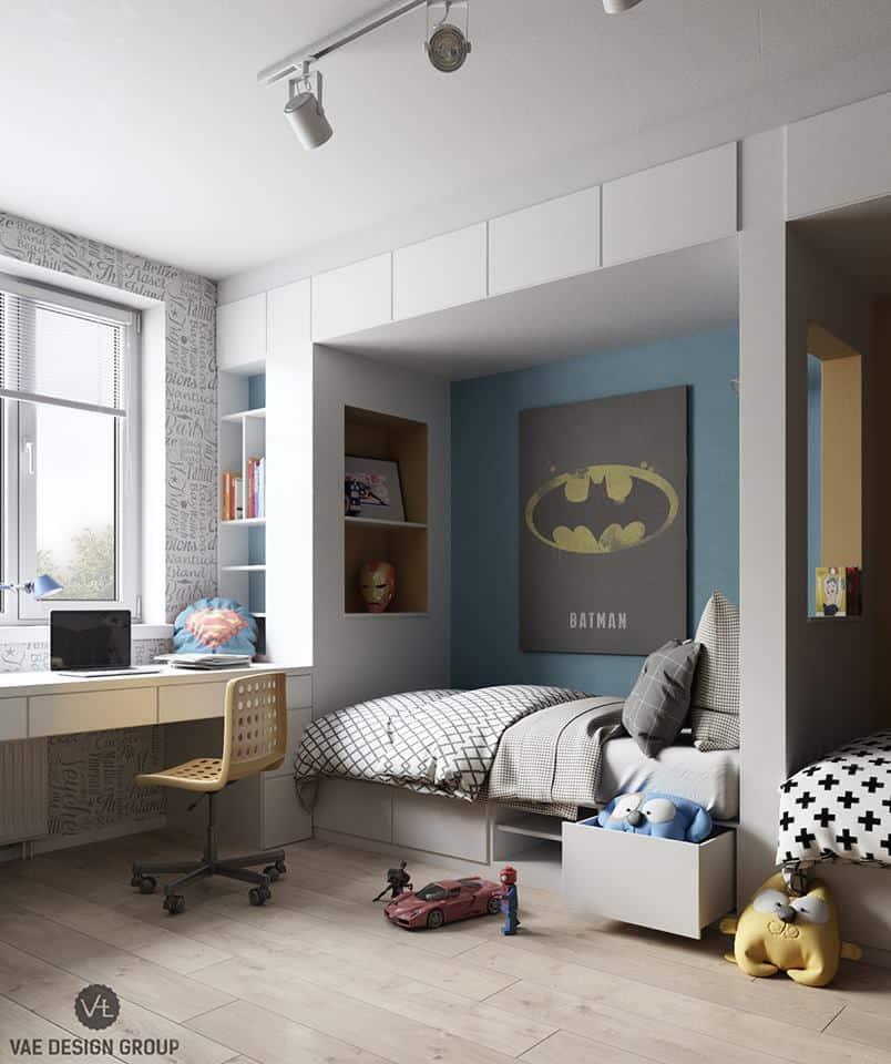thiet-ke-phong-ngu-tre-em-chung-cu-duc-giang-1 Thiết kế nội thất phòng ngủ bé trai chung cư Đức Giang - A. Tuấn