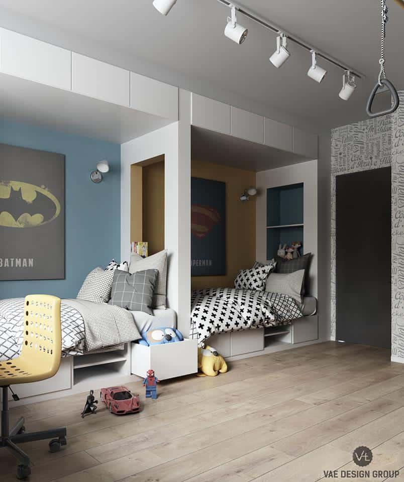 thiet-ke-phong-ngu-tre-em-chung-cu-duc-giang-3 Thiết kế nội thất phòng ngủ bé trai chung cư Đức Giang - A. Tuấn
