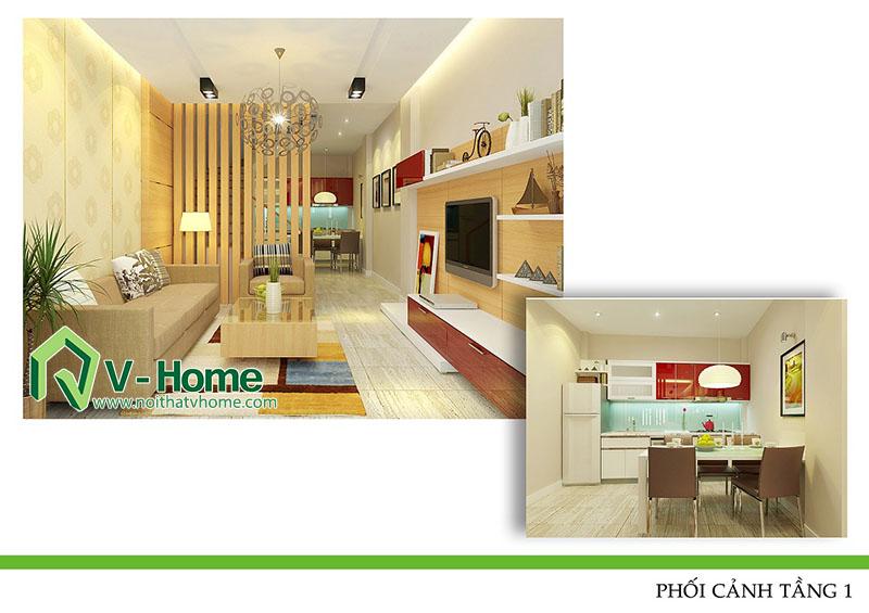 thiet-ke-noi-that-phong-khach-220-pho-hue-5 Thiết kế nội thất nhà lô phố 220 Phố Huế