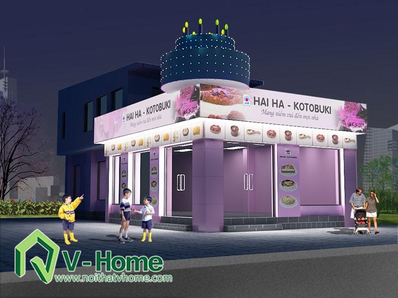haiha-night Thiết kế ngoại thất cửa hàng bánh Hải Hà