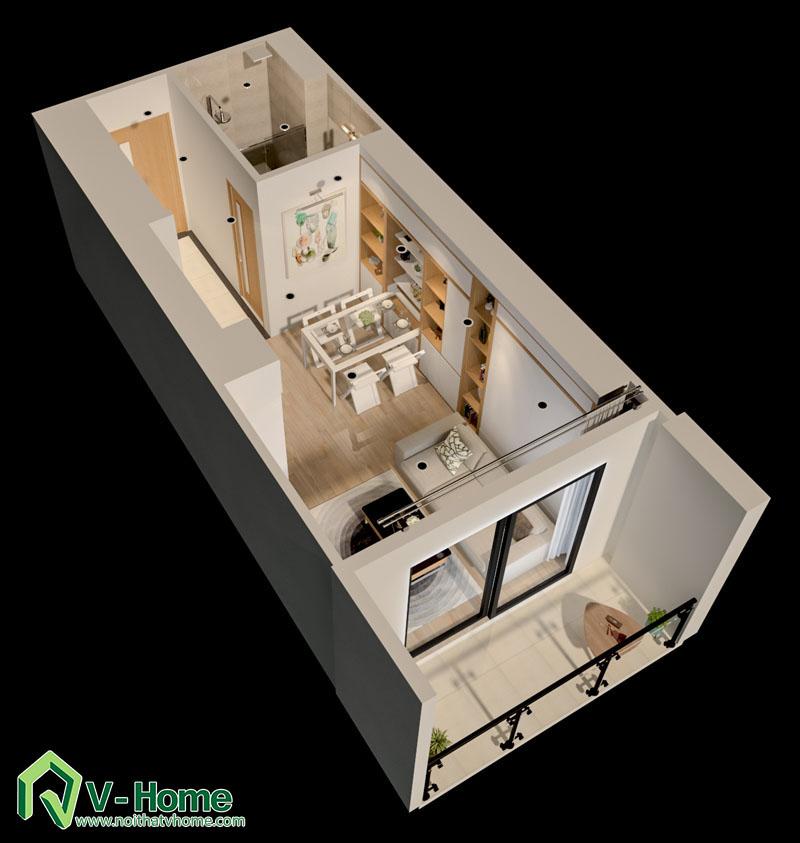 noi-that-thong-minh-officetel-1 Thiết kế nội thất căn hộ Officetel diện tích 32m2 - TP. Bắc Ninh