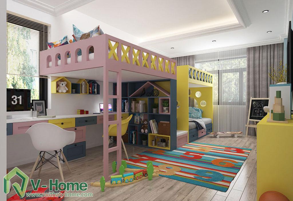thiet-ke-phong-ngu-tre-em-biet-thu-vinhomes-gardenia-1 Thiết kế nội thất phòng ngủ trẻ em tuyệt đẹp