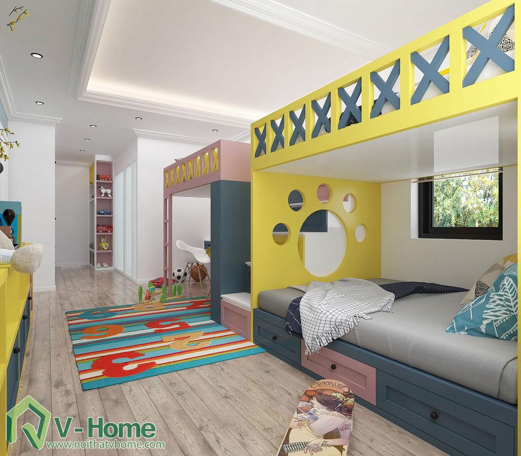 thiet-ke-phong-ngu-tre-em-biet-thu-vinhomes-gardenia-5 Thiết kế nội thất phòng ngủ trẻ em tuyệt đẹp