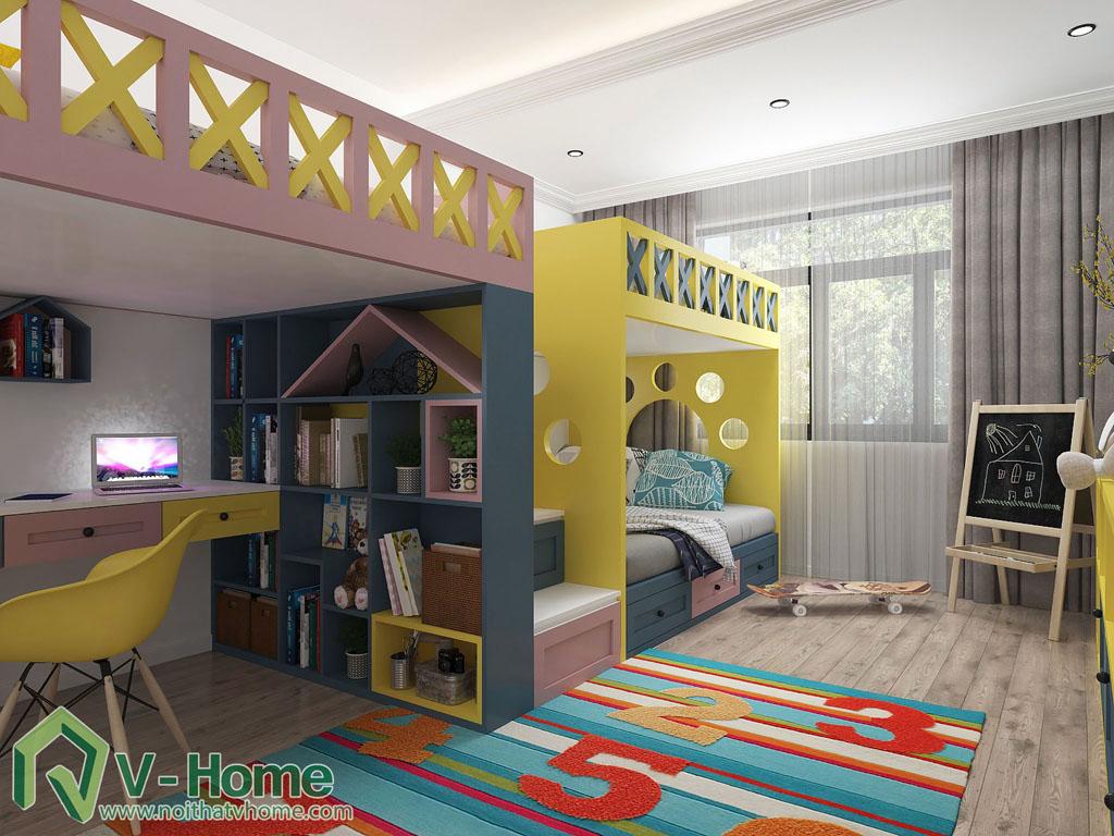 thiet-ke-phong-ngu-tre-em-biet-thu-vinhomes-gardenia-7 Thiết kế nội thất phòng ngủ trẻ em tuyệt đẹp