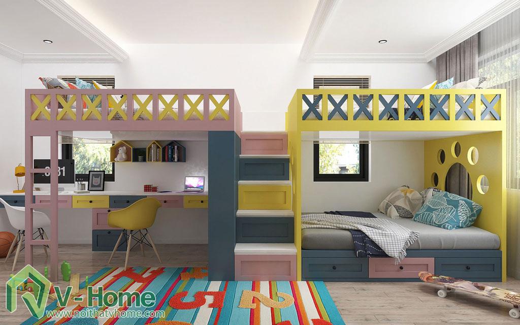 thiet-ke-phong-ngu-tre-em-biet-thu-vinhomes-gardenia-8 Thiết kế nội thất phòng ngủ trẻ em tuyệt đẹp