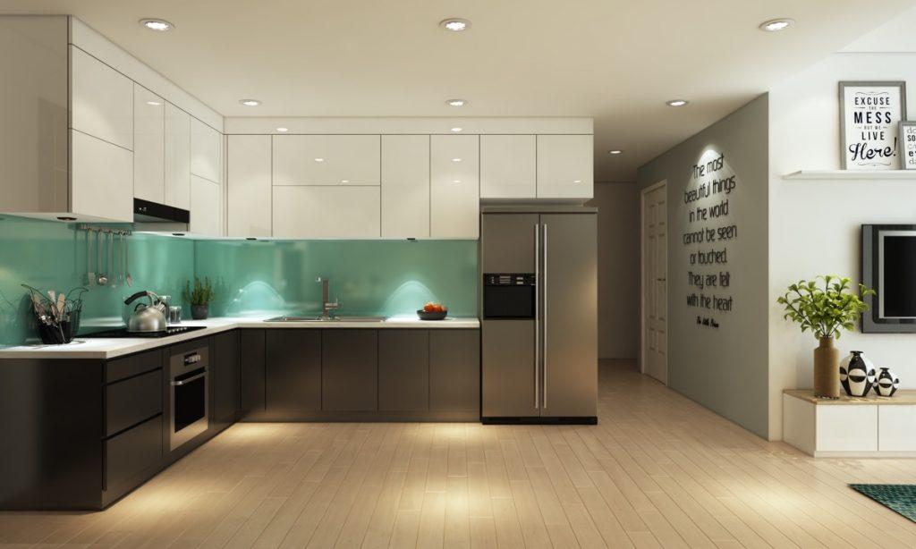 Glass-backsplash-1024x614 Phong cách nội thất hiện đại trong thiết kế nhà ở hiện nay