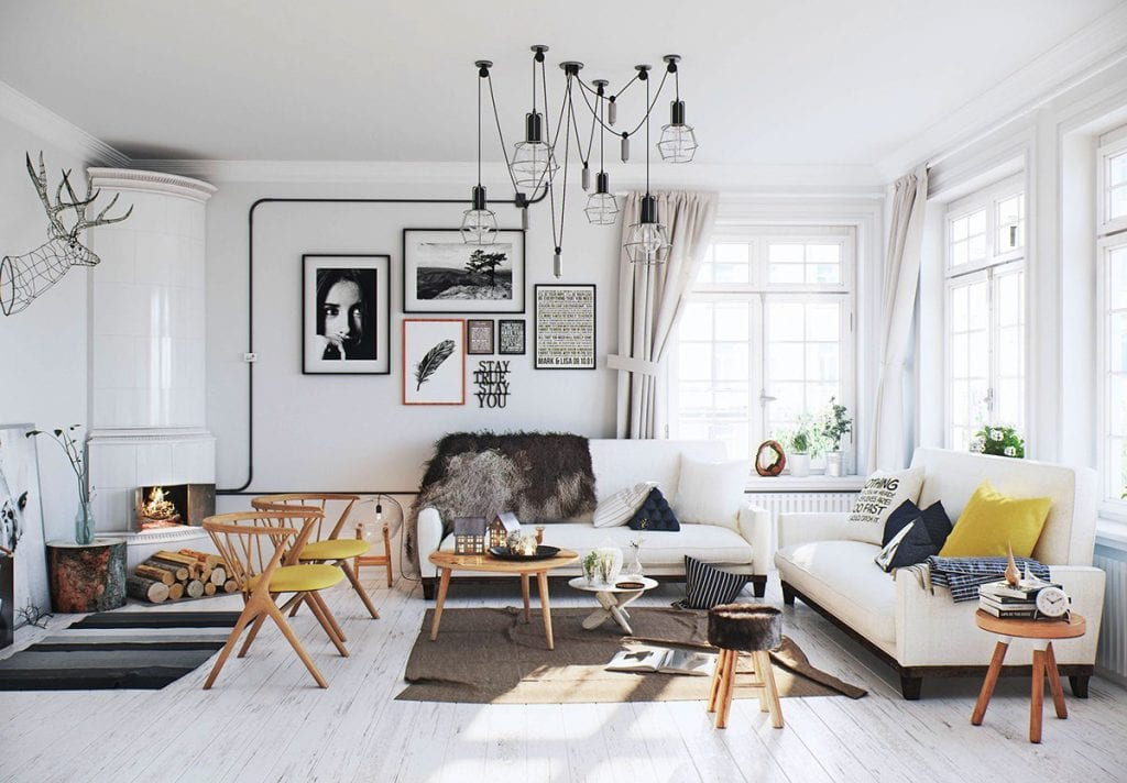 dangling-caged-lights-scandinavian-1024x712 [Tư vấn] Ý tưởng thiết kế nội thất phòng khách đẹp