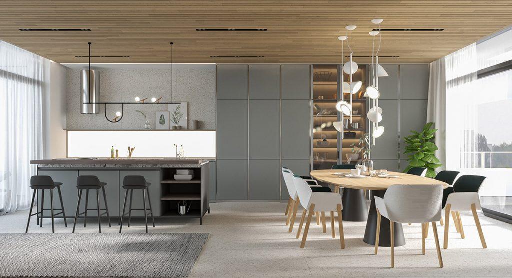 modern-grey-kitchen-and-dining-area-1024x556 Phong cách nội thất hiện đại trong thiết kế nhà ở hiện nay
