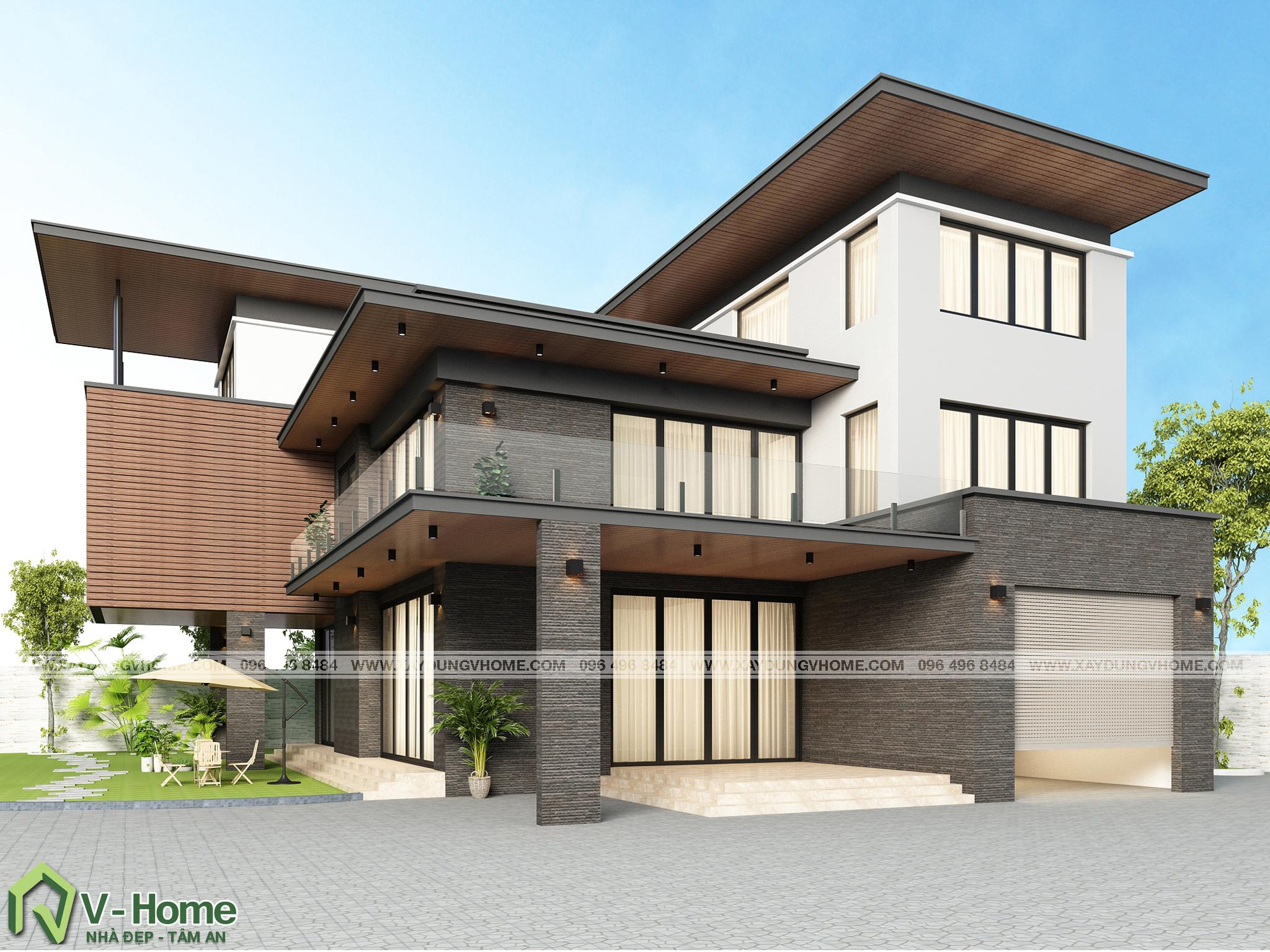 thiet-ke-biet-thu-hien-dai-2 Thiết kế Biệt thự hiện đại tại Ninh Bình - A. Sơn