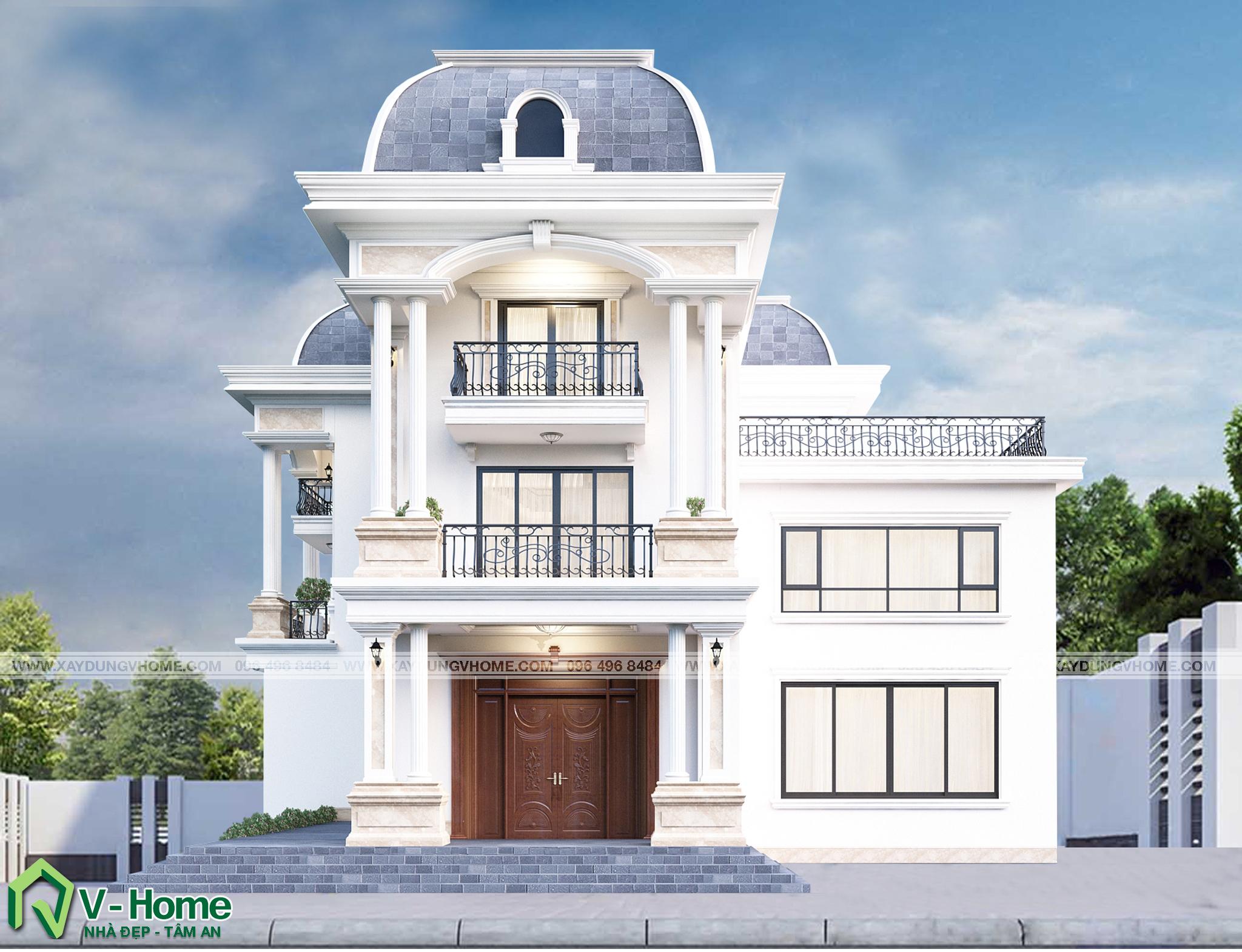 thiet-ke-biet-thu-tran-co-dien-2 Thiết kế Biệt thự tân cổ điển tại Bắc Ninh - C. Trang