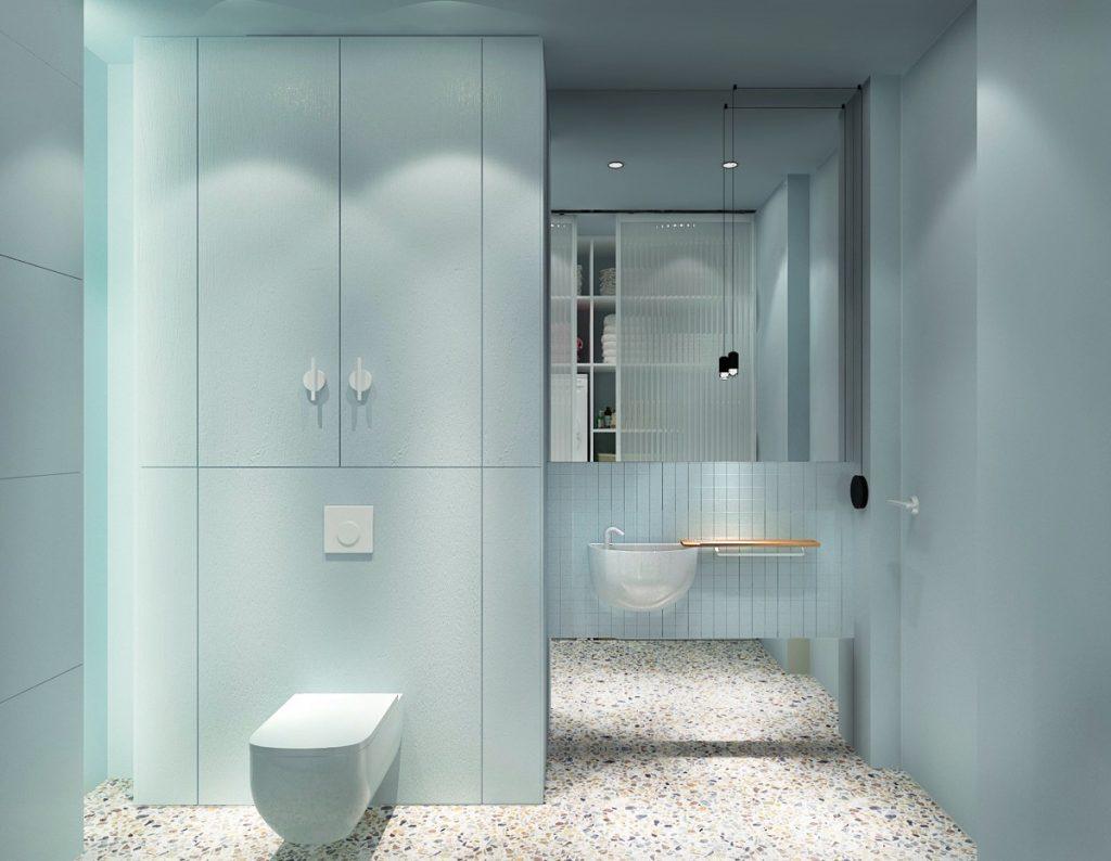 Minimalist-blue-bathroom-1024x794 Thiết kế nhà vệ sinh nhỏ đẹp cần lưu ý những gì?