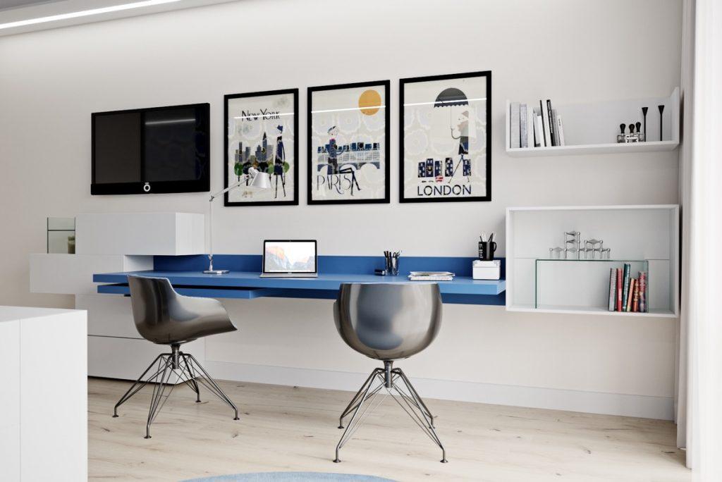 artwork-for-two-person-home-office-1024x684 [Tư vấn] Lựa chọn các mẫu bàn làm việc tại nhà