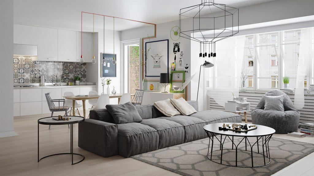 geometric-scandinavian-living-room-1-1024x575 [Kiến thức] Phong cách Bắc Âu - Scandinavian trong thiết kế nội thất