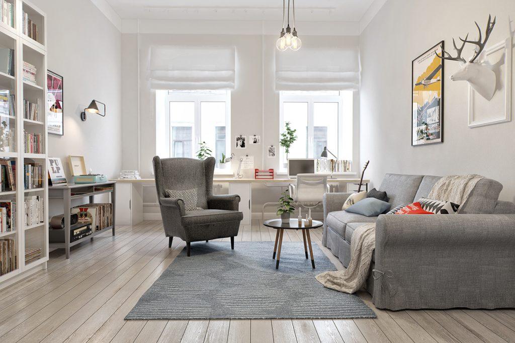 gray-wingback-chair-1024x682 [Kiến thức] Phong cách Bắc Âu - Scandinavian trong thiết kế nội thất