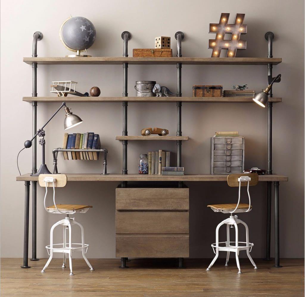 industrial-style-double-desk-1024x995 [Tư vấn] Lựa chọn các mẫu bàn làm việc tại nhà
