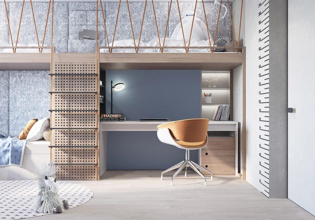kids-workspace-below-bunk-bed-1024x717 Thiết kế phòng làm việc tại nhà hợp phong thủy