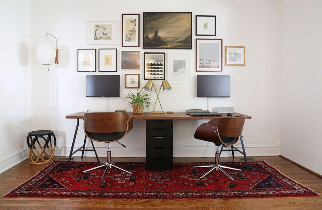 long-double-desk-with-storage-1024x670 [Tư vấn] Lựa chọn các mẫu bàn làm việc tại nhà