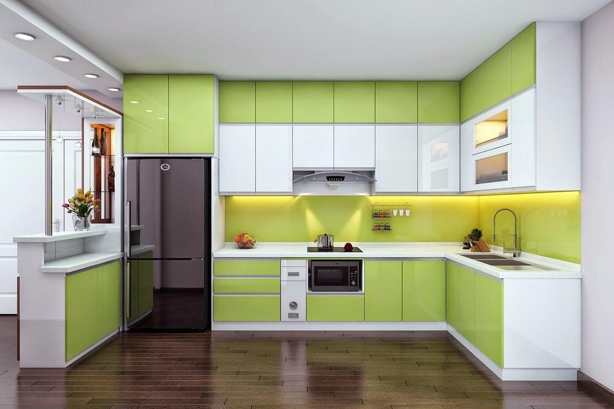 tu-bep-acrylic Thiết kế phòng bếp nhỏ đẹp