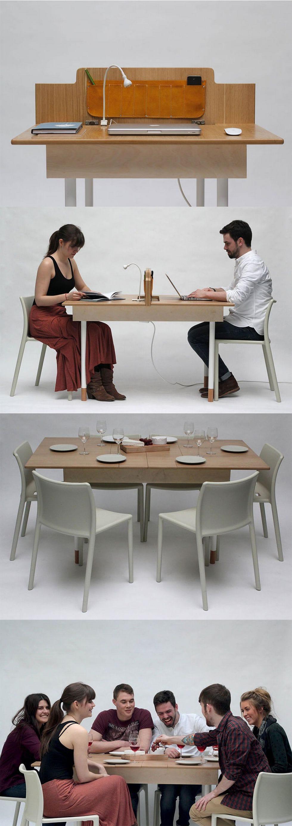 26-Desk-to-dining-table Nội thất thông minh – Những điều không phải ai cũng biết!