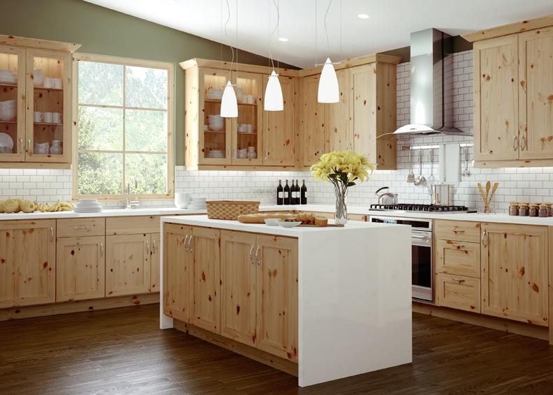 Rustic-Pine-Kitchen-Cabinets-Trio-5093 Gỗ thông và những thông tin cần biết trong ứng dụng đồ nội thất