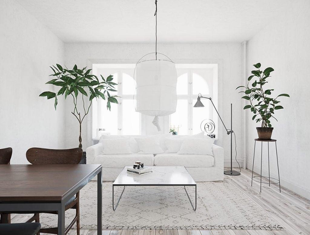 White-Scandi-living-room-1024x778 [Kiến thức] Phong cách Bắc Âu - Scandinavian trong thiết kế nội thất