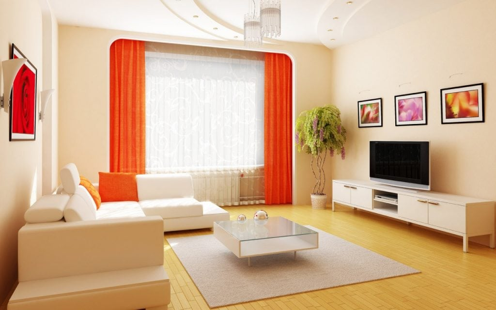 attractive-design-interior-design-portfolio-layouts-that-has-cream-wall-and-orange-curtains-with-wooden-floor-and-cream-modern-rug-inside-modern-living-1024x640 Tại sao nên thiết kế nội thất chung cư?