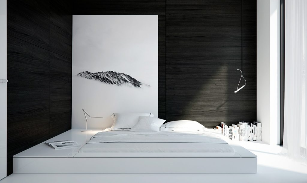 black-and-white-minimalist-bedroom-1024x613 [Tư vấn] Thiết kế nội thất phòng ngủ đẹp