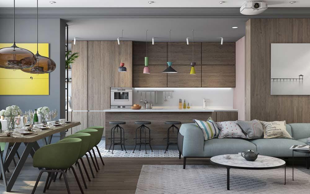 colorful-retro-kitchen-lighting Đèn thả bàn ăn - Đặc điểm và ứng dụng trong trang trí nội thất