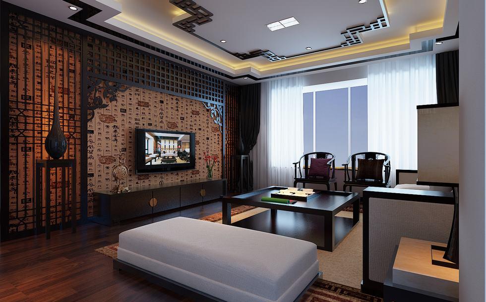 flat-screen-chinese-feature-wall-lounge-1 [Kiến Thức] Phong cách Á Đông trong thiết kế nội thất