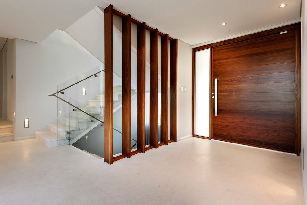 front-door-stairs-entry-contemporary-with-dark-wood-original-metal-wall-art Tổng hợp những mẫu vách ngăn cầu thang đẹp nhất