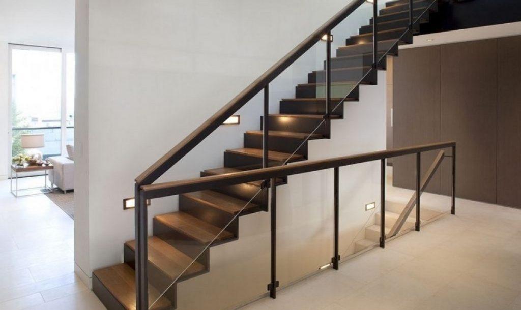glass-stair-rail-with-mount-railing-hardware-ot-staircase-photo-1024x610 Mẫu cầu thang sắt hiện đại và những lưu ý khi thiết kế nội thất