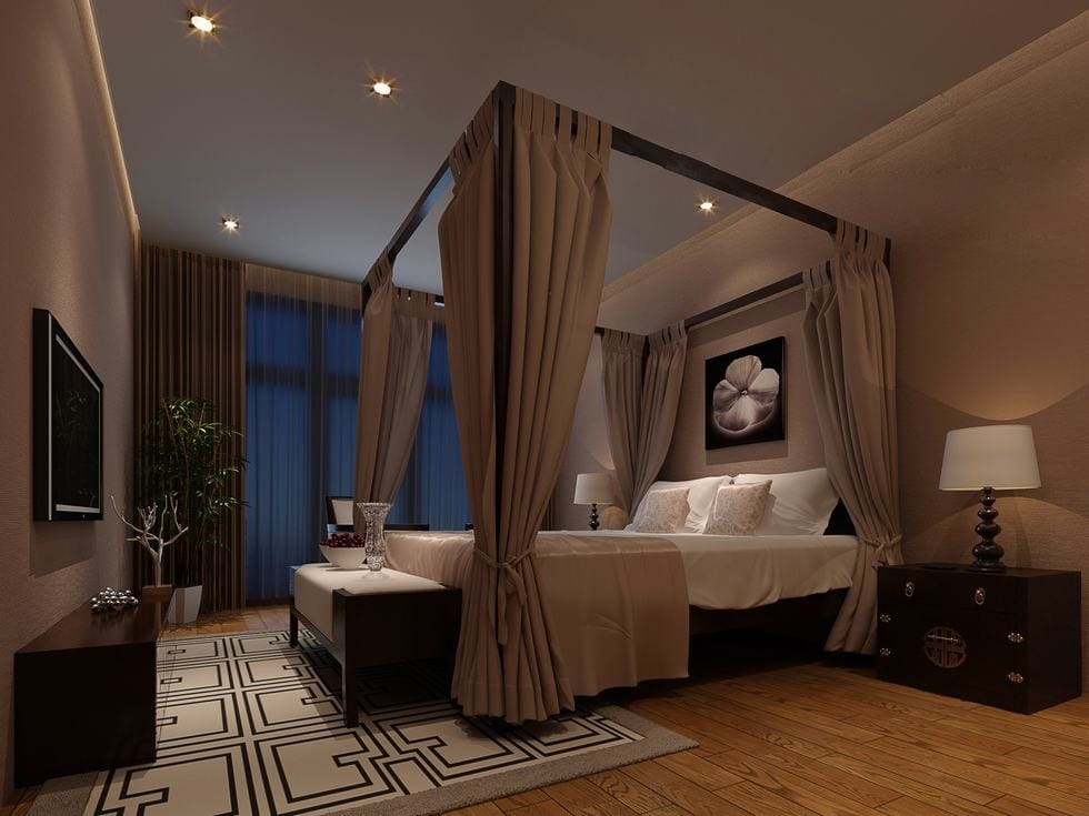 orchid-and-taupe-chinese-moody-bedroom-1 [Tư vấn] Thiết kế nội thất phòng ngủ đẹp