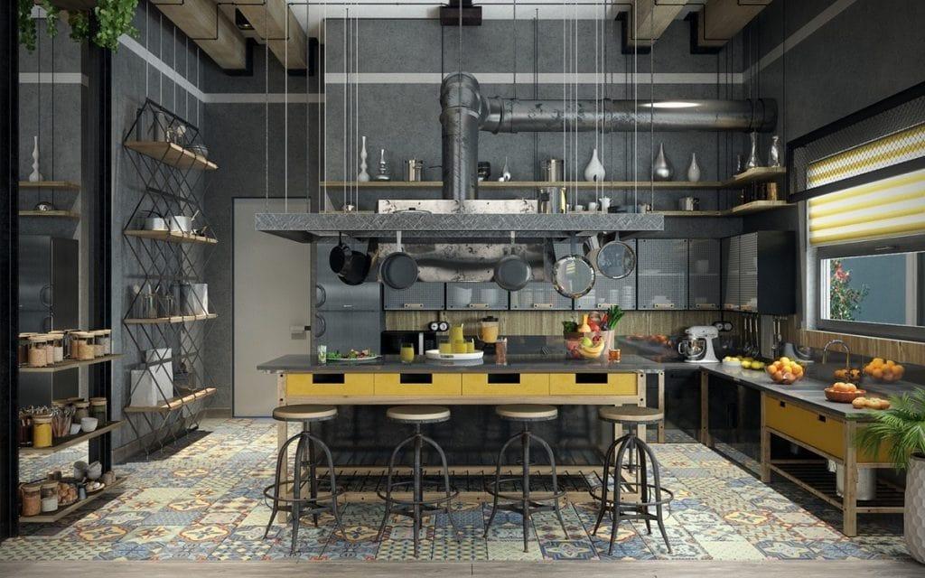 phong-cach-cong-nghiep-1024x640 [Kiến thức] Thiết kế nội thất bếp phòng ăn như thế nào?