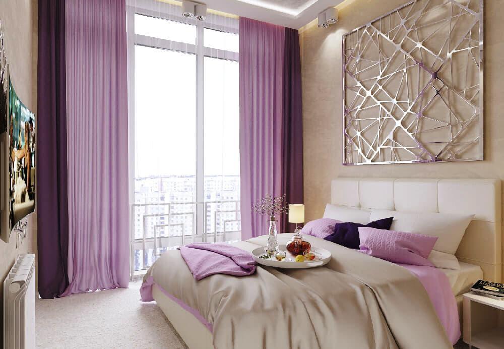 shtory-na-panoramnom-okne-v-spalne Rèm và những điều cần lưu ý khi thiết kế nội thất