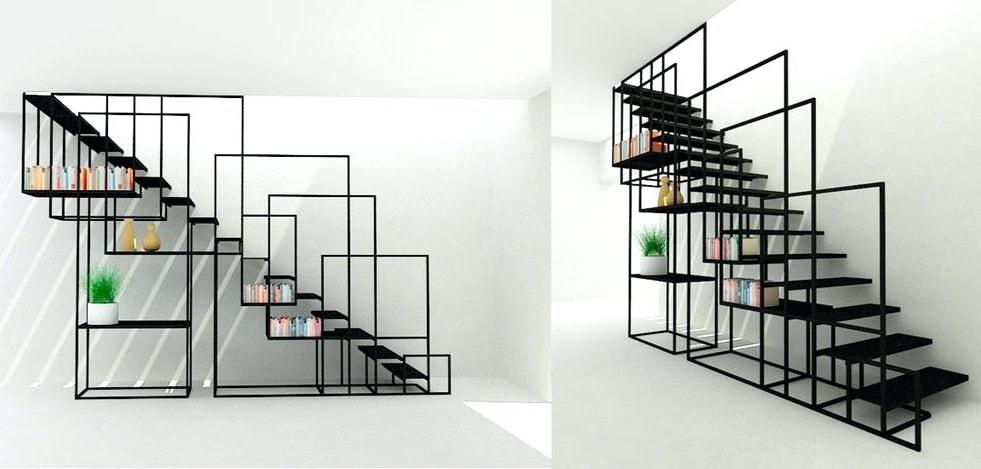 staircase-shelf-ultra-modern-and-combination-style-shelves Mẫu cầu thang sắt hiện đại và những lưu ý khi thiết kế nội thất