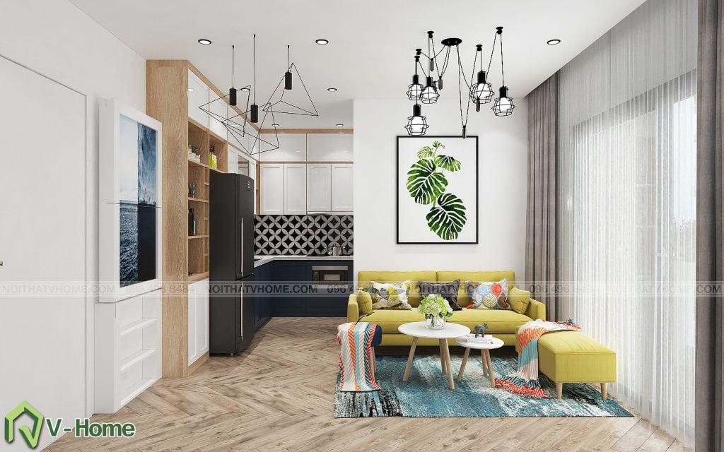 thiet-ke-phong-khach-chung-cu-n02-yen-hoa-5-1024x640 Thiết kế nội thất chung cư N02 - 259 Yên Hòa phong cách Scandinavian