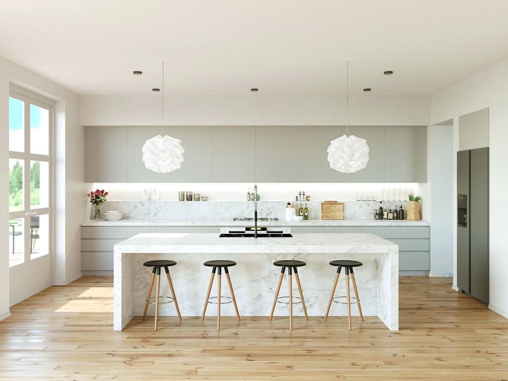 white-and-grey-kitchen-gloss-tiles-designs-marble-light-maple-grey-kitchen-floors-l-f2ff6945c433ee44-1024x768 [Kiến thức] Thiết kế nội thất bếp phòng ăn như thế nào?