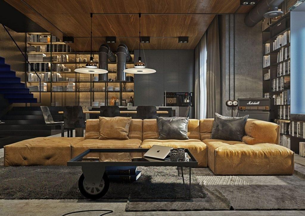 wood-and-concrete-industrial-living-room-1024x724 Ghế sofa - Đồ nội thất phổ biến trong phòng khách gia đình