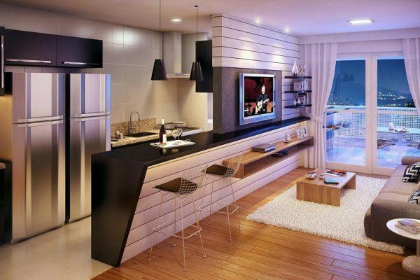 quầy bar ngăn bếp và phòng khách