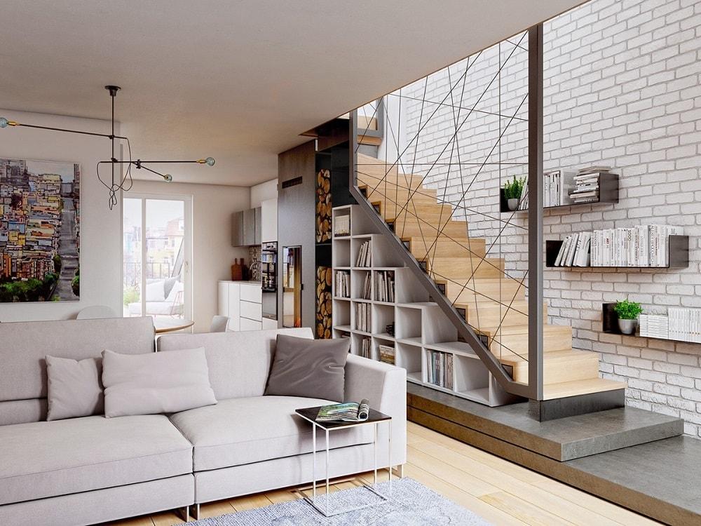 1-1 Thiết kế mẫu phòng khách đẹp có cầu thang như thế nào?