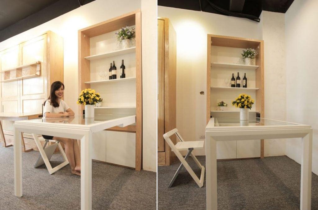 ban-4-ghe-3-682x1024-1024x677 Bàn gắn tường thông minh - món đồ nội thất đa năng cho nhà nhỏ