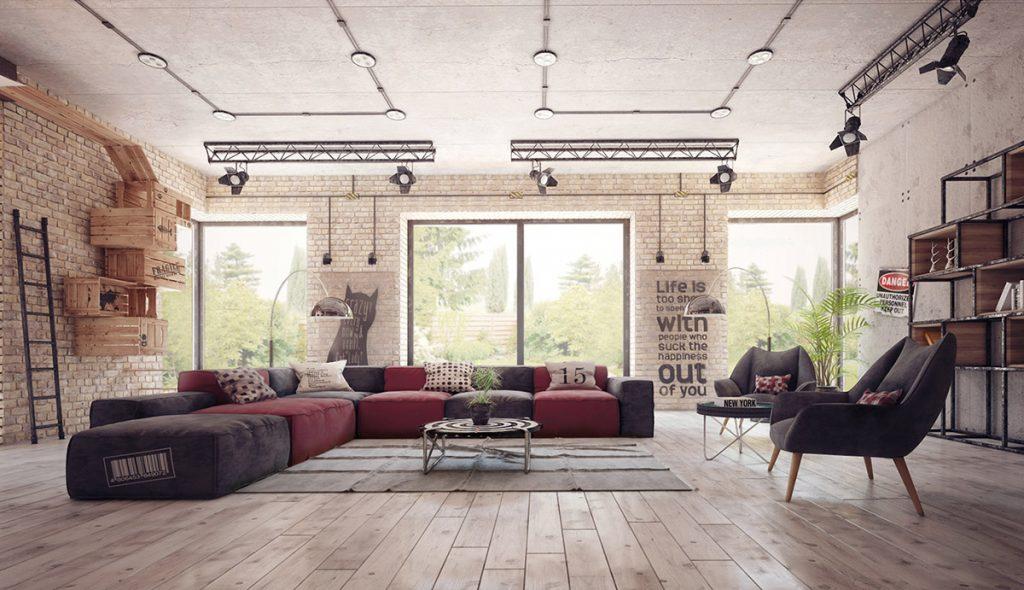 industrial-living-room-1024x590 Tổng hợp 25+ phong cách thiết kế nội thất đẹp - Đâu sẽ là sự lựa chọn của bạn