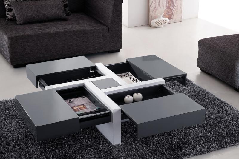 table-basse-design-carree-gris-et-blanc-laque-bling TOP 10+ mẫu bàn trà thông minh ai cũng muốn được sở hữu