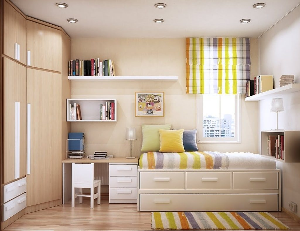 kids-room-white-wooden-storage-next-to-brown-desk-with-drawer-also-closet-plus-chair-on-laminate-flooring-appealing-teenagers-beds-for-small-rooms-offers-cheerful-1048x806-1024x787 Tuyệt chiêu thiết kế nội thất phòng ngủ nhỏ đẹp ngây ngất