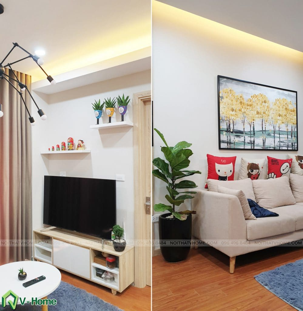 Phong-khach-can-ho-mon-city-9-999x1024 Thi công nội thất căn hộ chung cư Mon City - Chị Vân